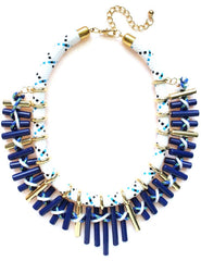 Cord With Barrel Beads Statement Necklace