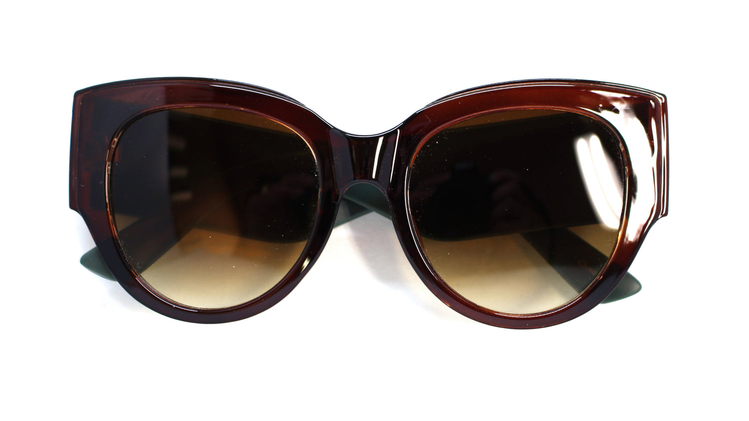 Evie Striped Cat Eye Sunglasses- Brown/Green