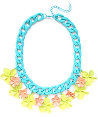 Pastel Flower & Chunky Chain Necklace