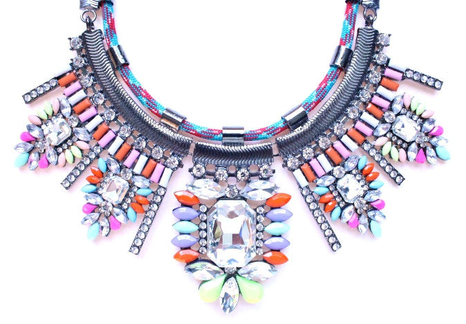 Multicolor Sparkle & Rope Chain Necklace