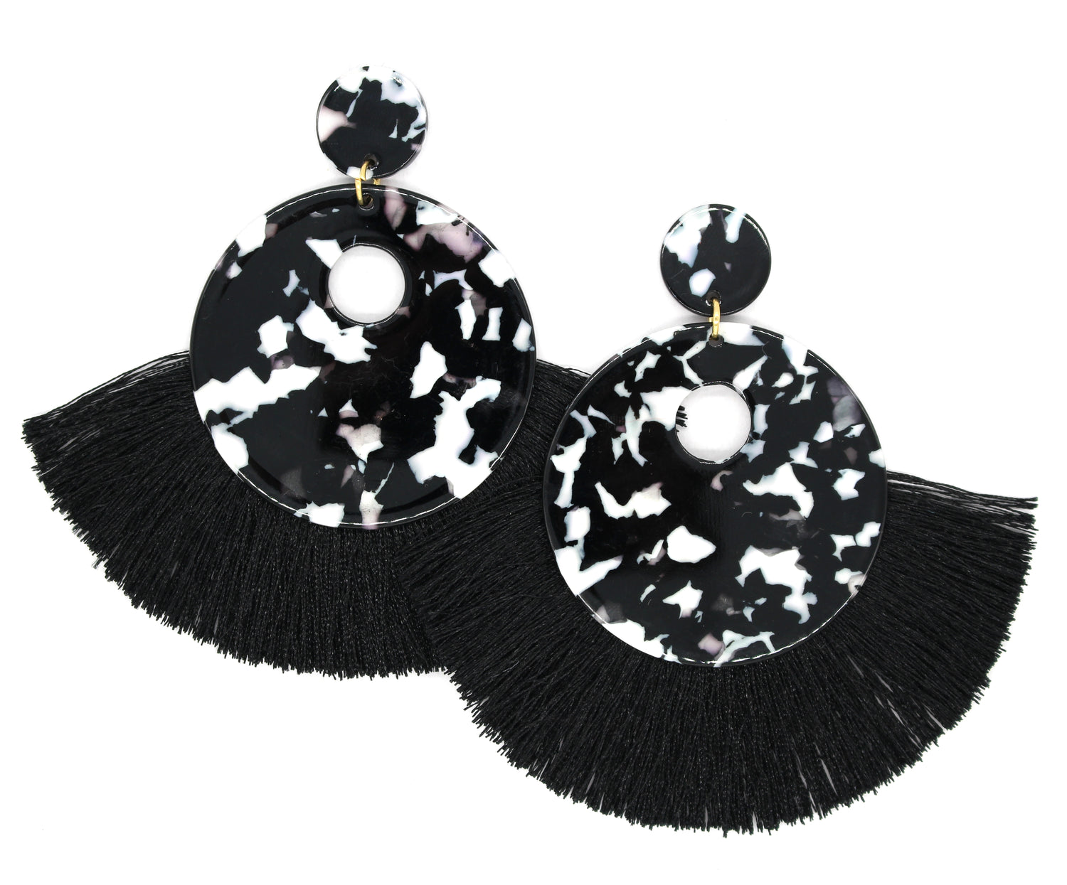 Hazel Resin Tassel Earrings- Black/ Marble