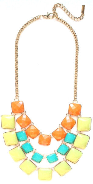 Layered Cube Jewels Bib Necklace- Orange/Turquoise/Yellow