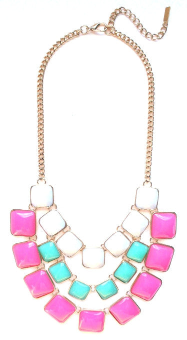 Layered Cube Jewels Bib Necklace- White/Mint/Pink