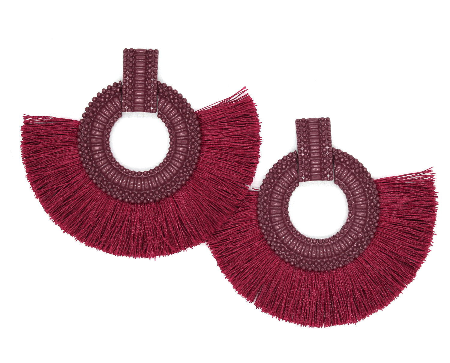 Hadley Fringe Tassel Earrings- Burgundy