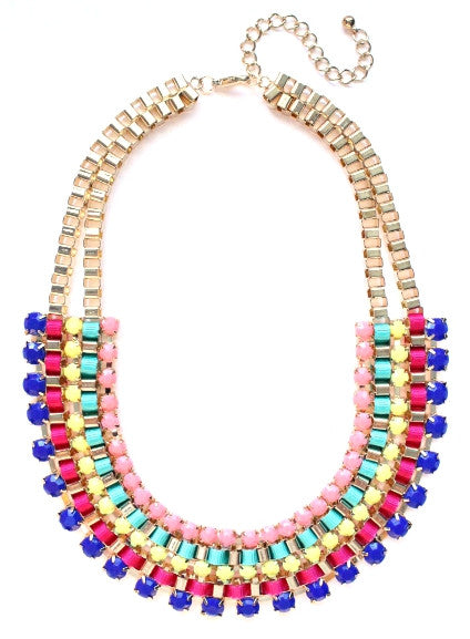 Beaded Box Chain Necklace- Royal/Pink Multi