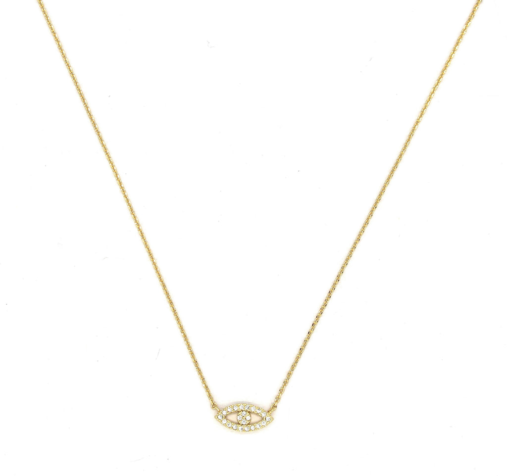 Mini Pavé Crystal Evil Eye Necklace- Gold