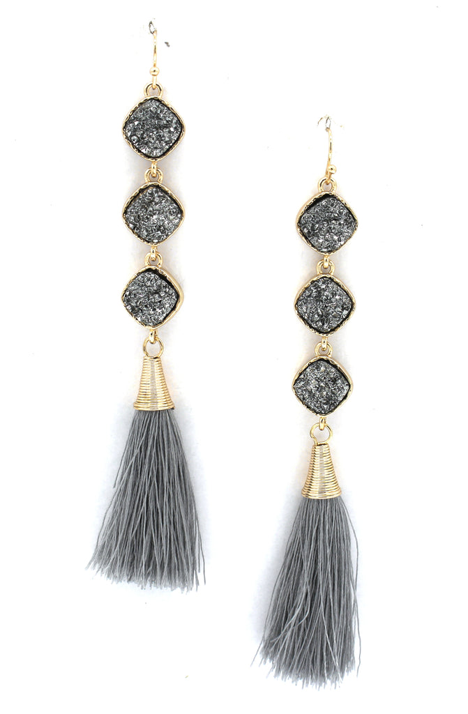 Lucy Druzy Drop Tassel Earrings- Silver/Gunmetal