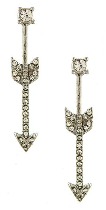 Arrow Bar Ear Jackets- Silver