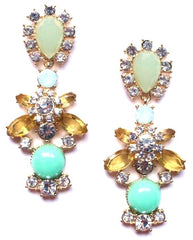 Luxe Crystal Firework Earrings- Mint
