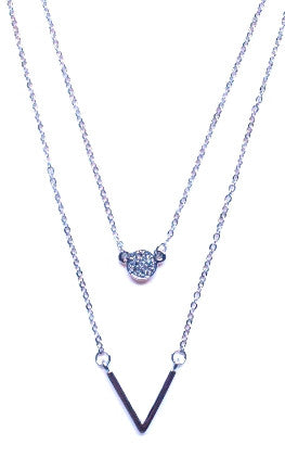 Crystal Circle & V Pendant Necklace- Silver