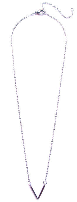 Single V Pendant Necklace- Silver