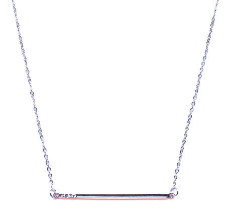 Asymmetrical Bar Pendant Necklace- Silver