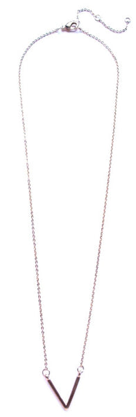 Single V Pendant Necklace- Gold