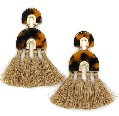 Farrah Tassel Earrings- Tortoise