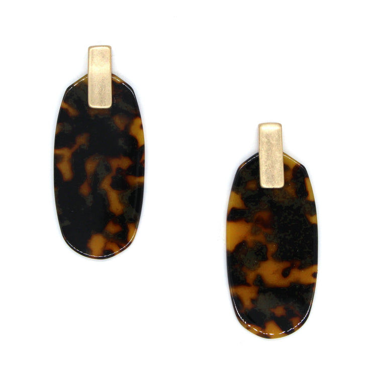 Penelope Acrylic Earrings- Tortoise