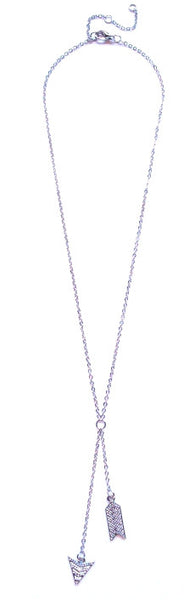Double Chevron Arrow Pendant Necklace- Silver
