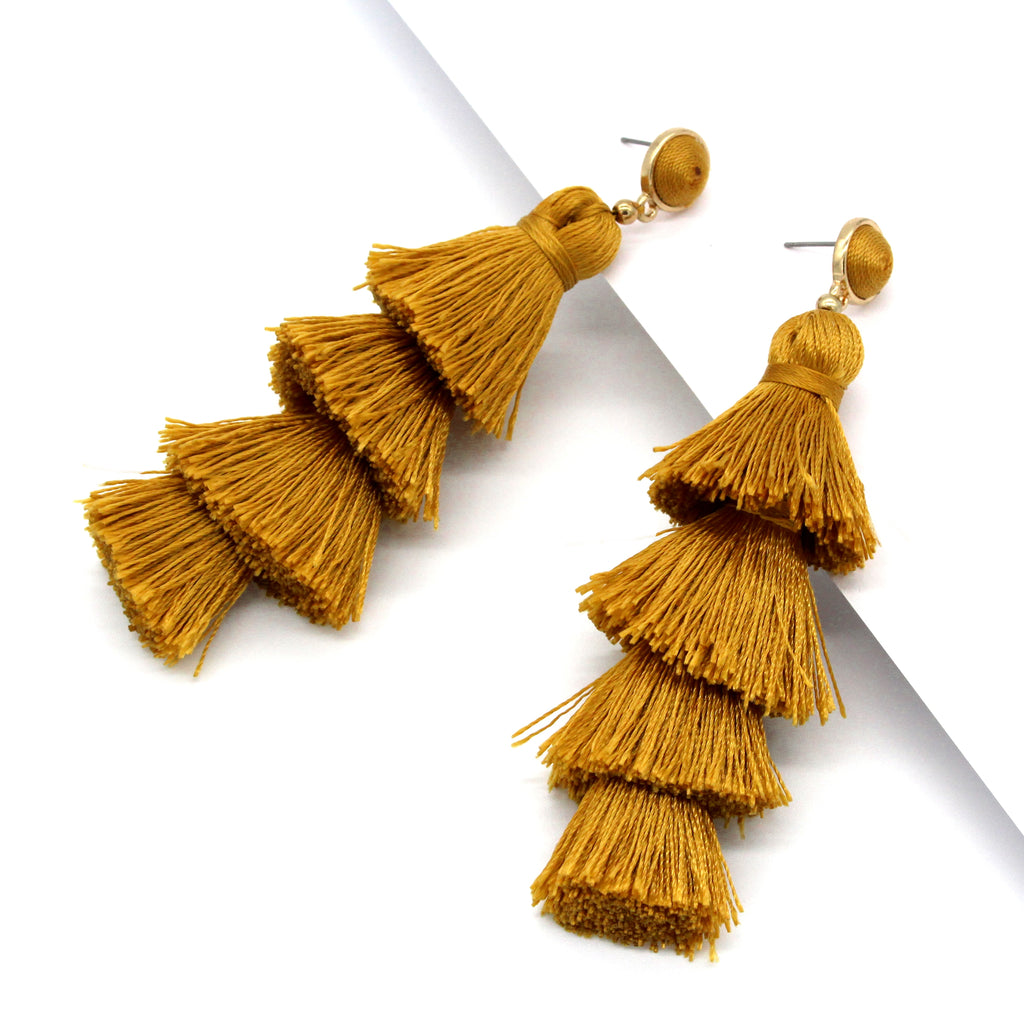 Chelsea Tassel Earrings- Mustard