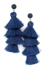 Chelsea Tassel Earrings- Navy