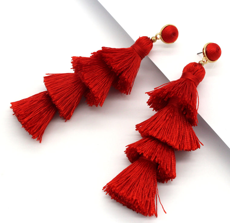 Chelsea Tassel Earrings- Red