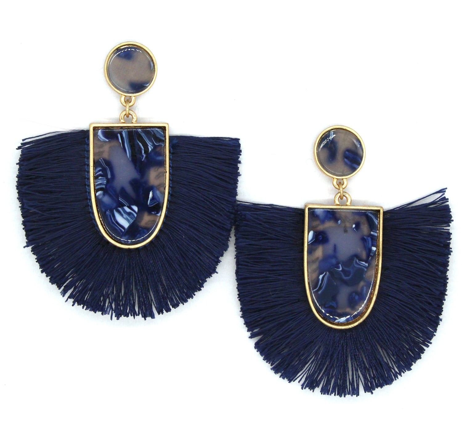 Mia Fan Fringe Earrings- Blue