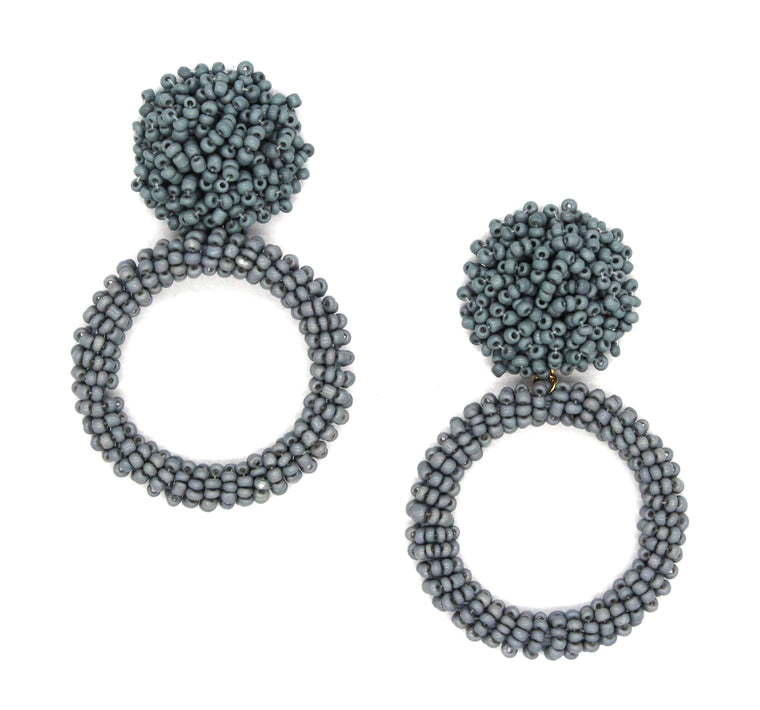 Jade Beaded Hoop Earrings- Grey