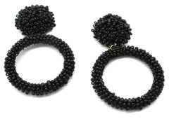 Jade Beaded Hoop Earrings- Black