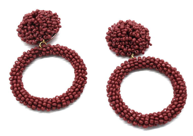 Jade Beaded Hoop Earrings- Burgundy