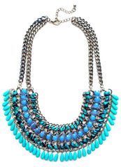 Layered Stone & Cord Chain Necklace- Aqua Teal