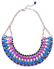 Beaded & Jeweled Collar Statement Necklace- Pink & Blue