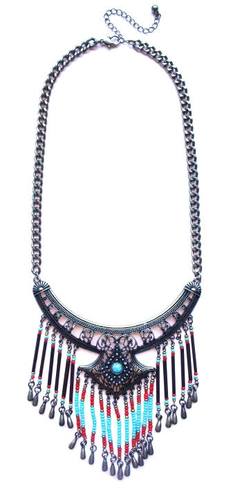 Boho Beaded Fringe Necklace