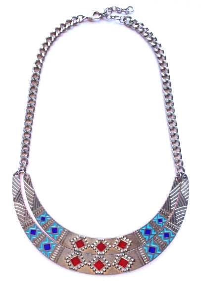 Aztec Metal Bib Necklace