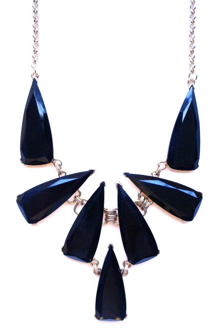 Tribal Jewel Spike Necklace- Black