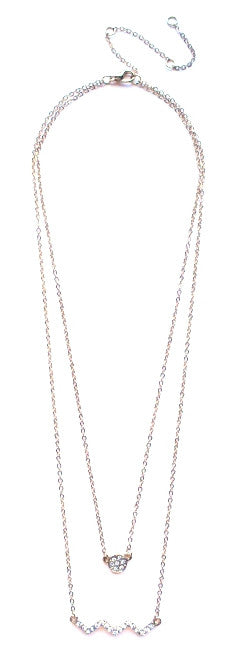 Circle Pavé Zigzag Pendant Necklace- Gold