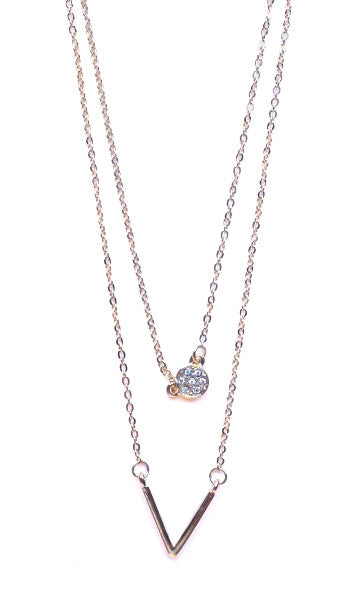 Crystal Circle & V Pendant Necklace- Gold
