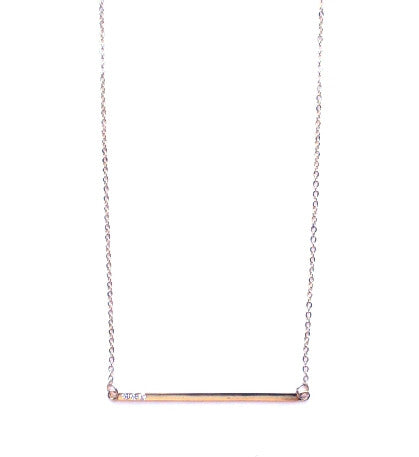 Asymmetrical Bar Pendant Necklace- Gold