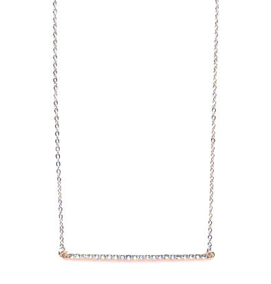 Asymmetrical Pavé Bar Pendant Necklace- Gold