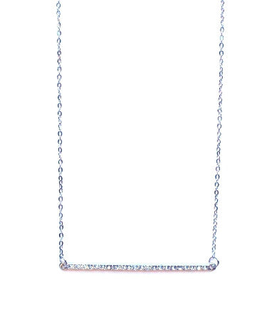 Asymmetrical Pavé Bar Pendant Necklace- Silver