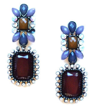 Gatsby Stone Dangle Earrings- Burgundy