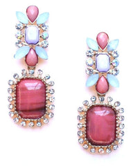 Gatsby Stone Dangle Earrings- Coral