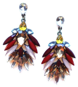 Jeweled Leaves Earrings- Red