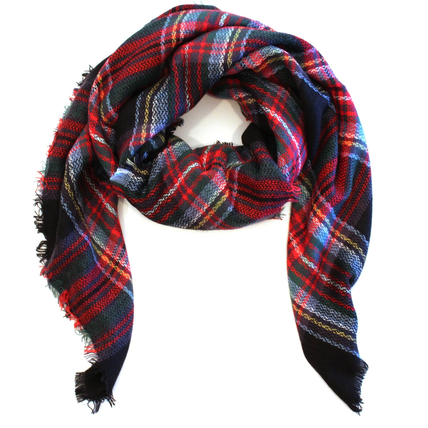 Mad For Plaid Blanket Scarf- Black/ Red Multi