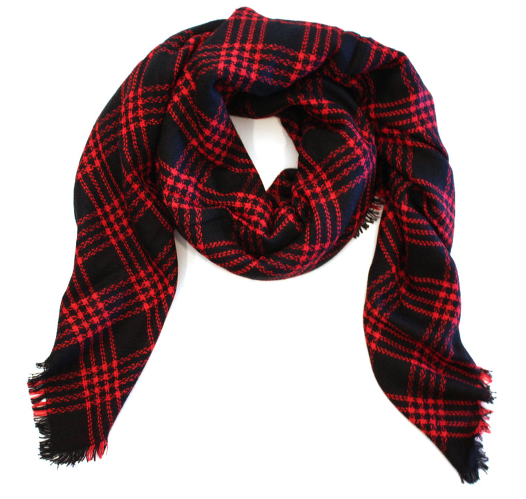 Mad For Plaid Blanket Scarf- Black/Red