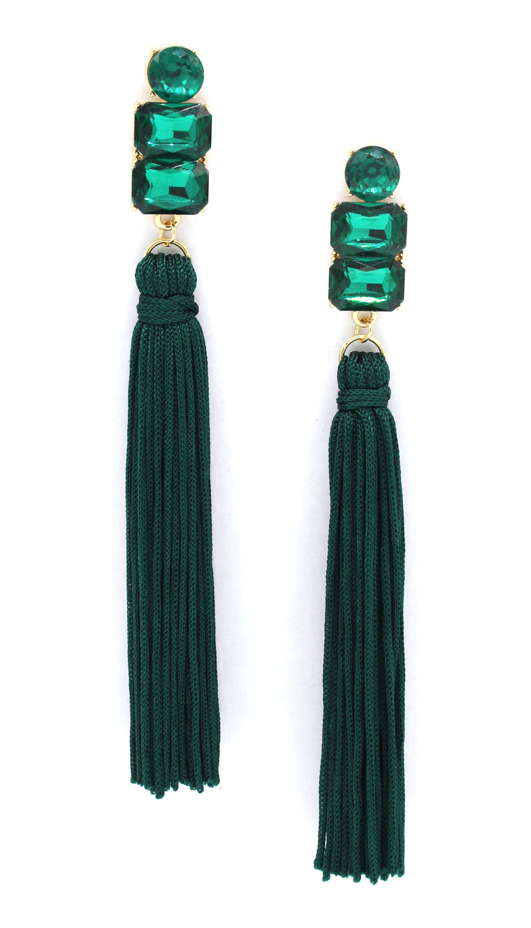 Electra Tassel Earrings- Emerald
