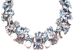 Luxe Crystal Cluster Collar Necklace- White