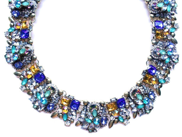 Luxe Vintage Multi Crystal Collar Necklace