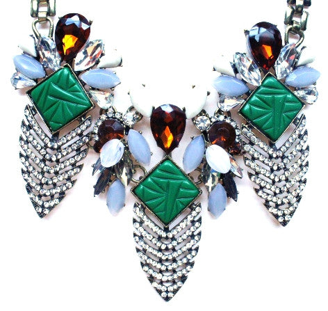 Luxe Deco Crystal Arrowhead Necklace- Green