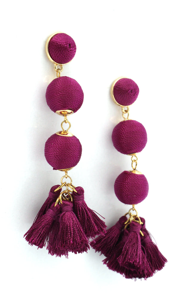 Holly Threaded Drop Earrings- Maroon Purple