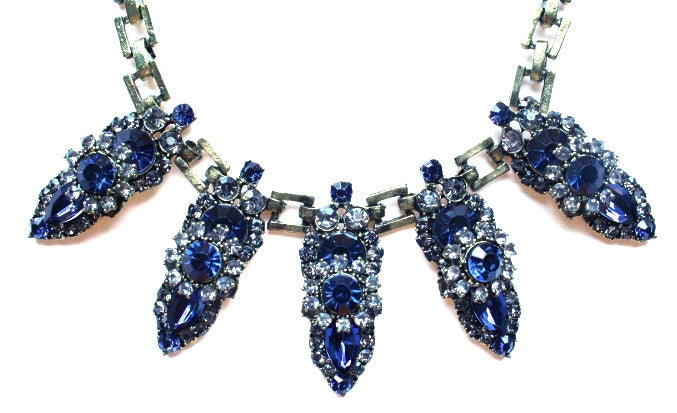 Luxe Crystal Points Necklace- Sapphire