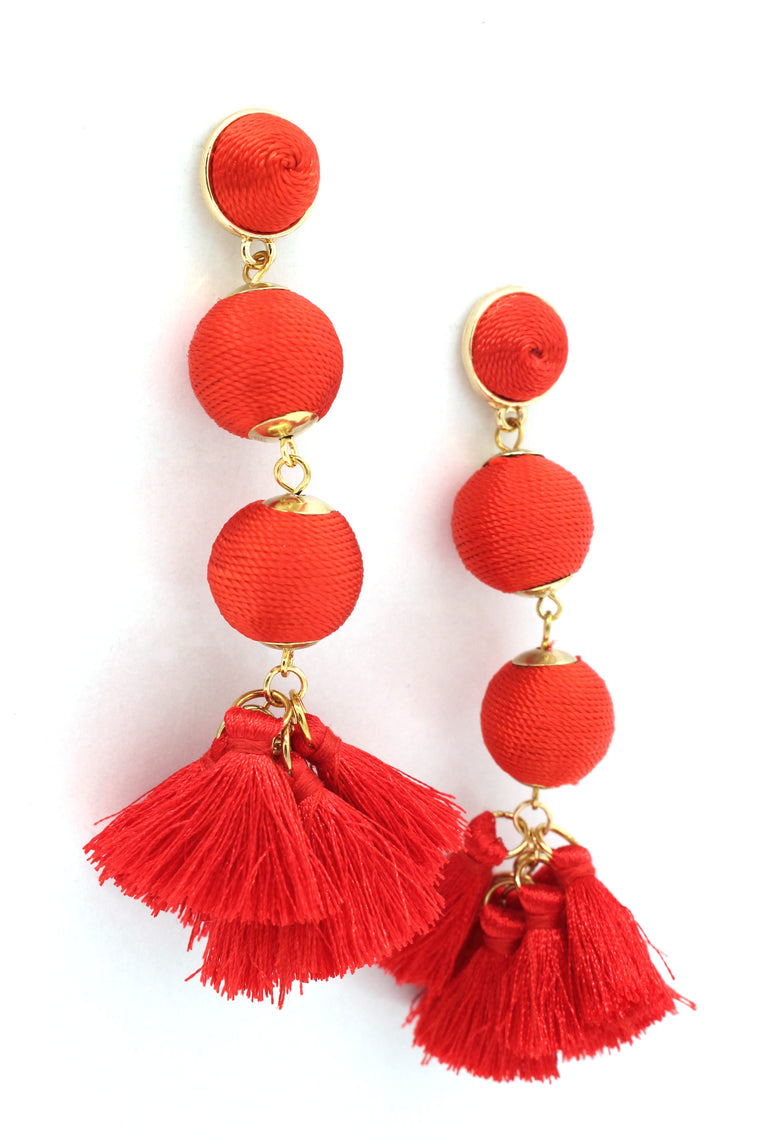 Holly Threaded Drop Earrings- Fire Red