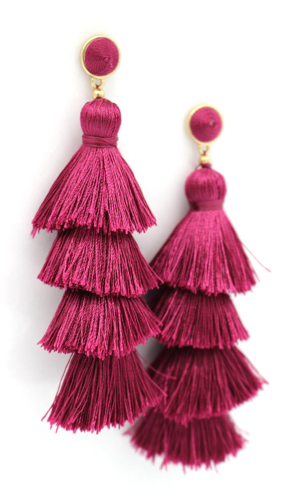 Chelsea Tassel Earrings- Maroon Purple
